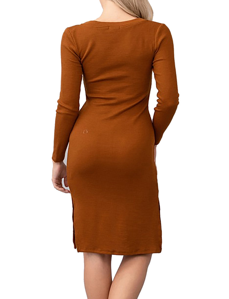 TAM WARE Women Button Down Long Sleeve Rib Hacci Bodycon Midi Dress
