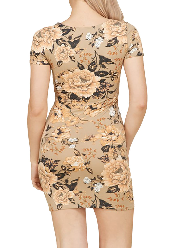 TAM WARE Women Twist Front Knot Short Sleeve Floral Bodycon Mini Dress