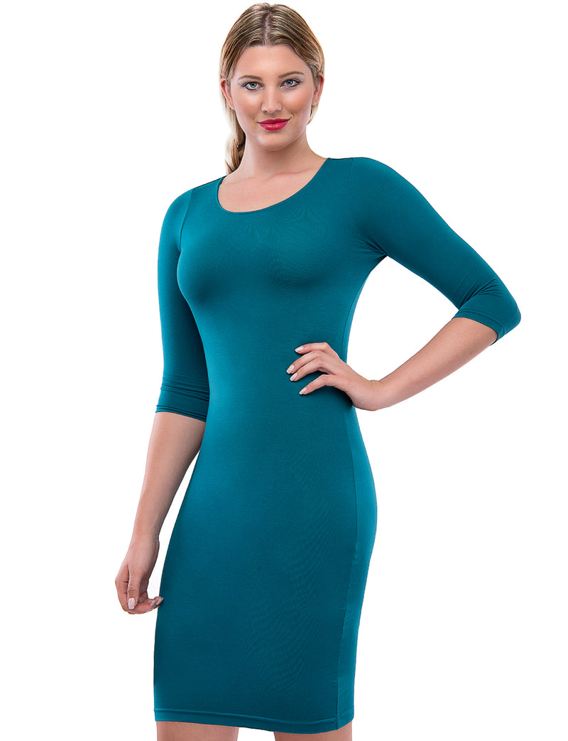 TAM WARE Women's Classic Slim Fit 3/4 Sleeve Knit Dress