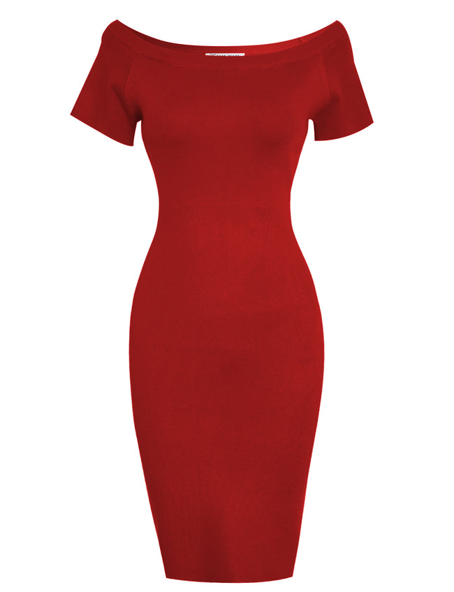 TAM WARE Women's Stylish Boat Neck Cap Sleeve Bodycon Dress