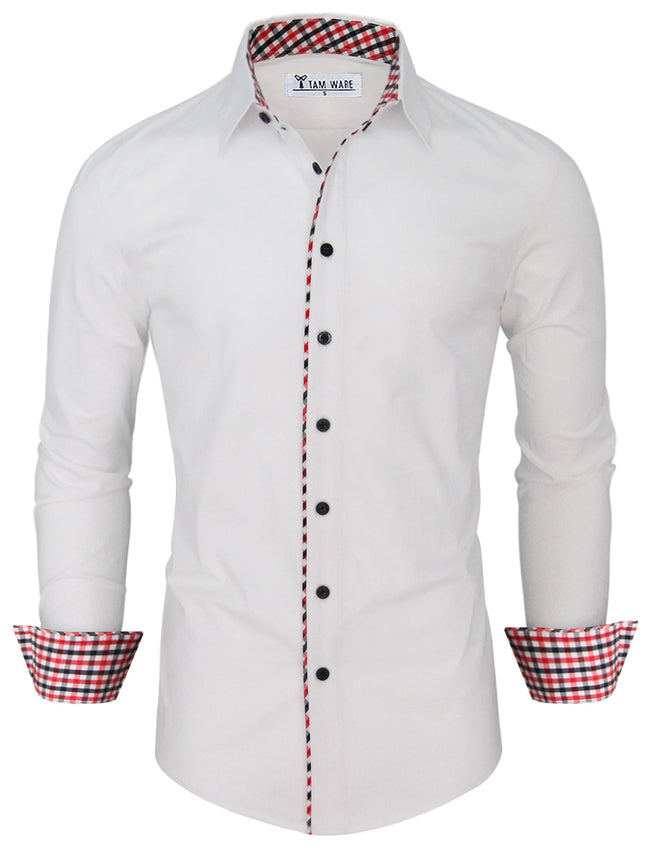 TAM WARE Men's Fashion Casual Inner Plaid Long Sleeve Button Down Shirt