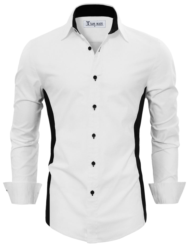 TAM WARE Men's Casual Regular Fit Colorblock Button Down Shirt