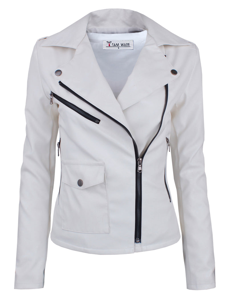 TAM WARE Women's Asymmetrical Zip-up Faux Leather Jacket