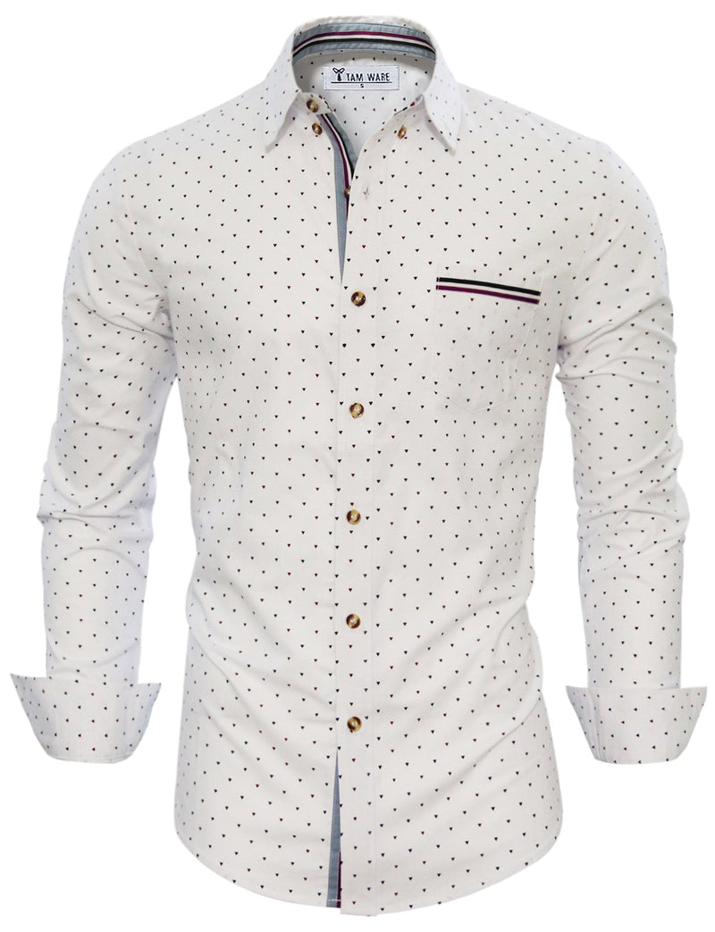 TAM WARE Men's Stylish Abstract Print Button Down Shirt