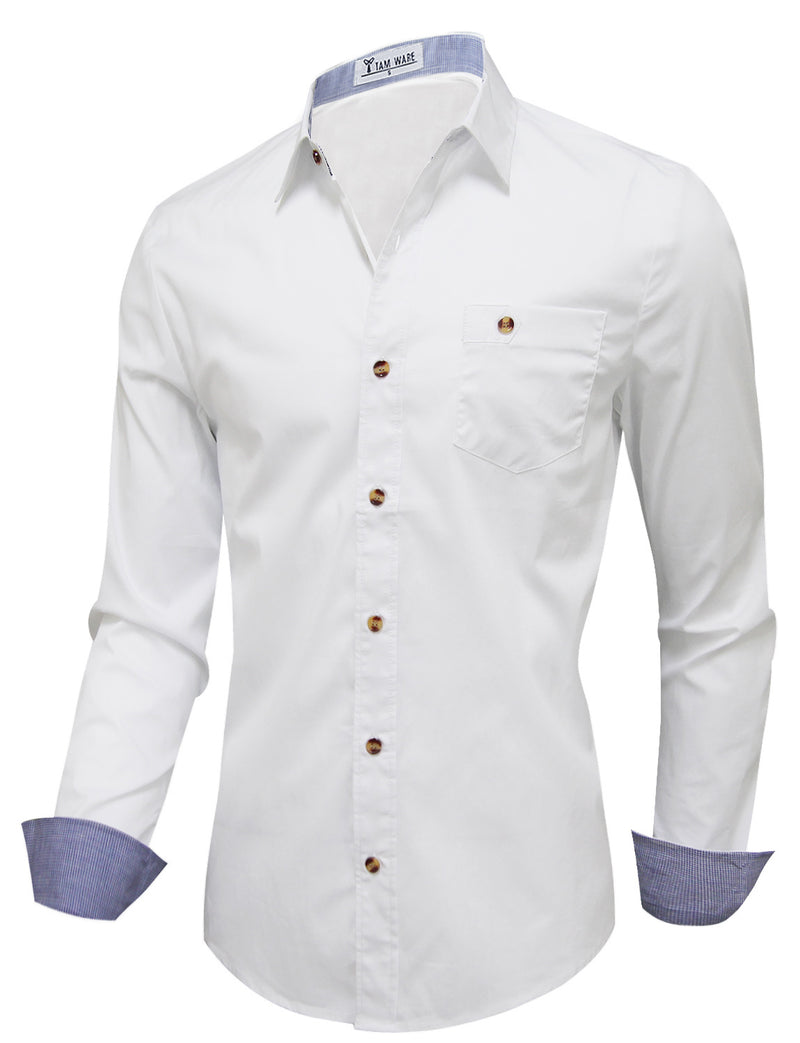 TAM WARE Men's Inner Contrast Chest Pocket Long Sleeve Dress Shirts