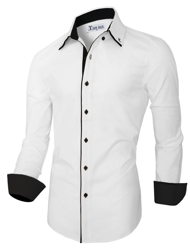 TAM WARE Men's Contrast Inner Long Sleeve Button Down Shirt