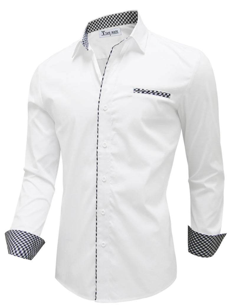 TAM WARE Men's Casual Inner Layered Long Sleeve Dress Shirt