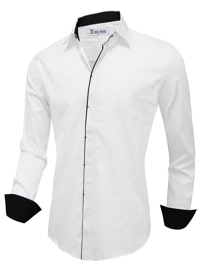 TAM WARE Men's Casual Hidden Buttons Long Sleeve Dress Shirts