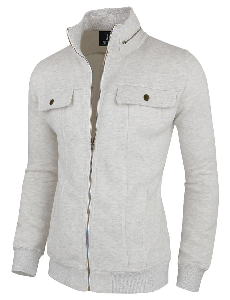 TAM WARE Men's Zip-Up with Two Fake Chest Pockets Jacket