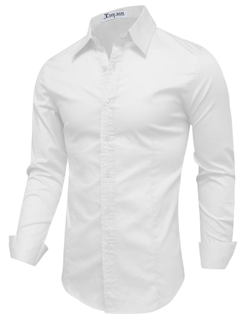 TAM WARE Men's Classic Slim Fit Long Sleeve Dress Shirt