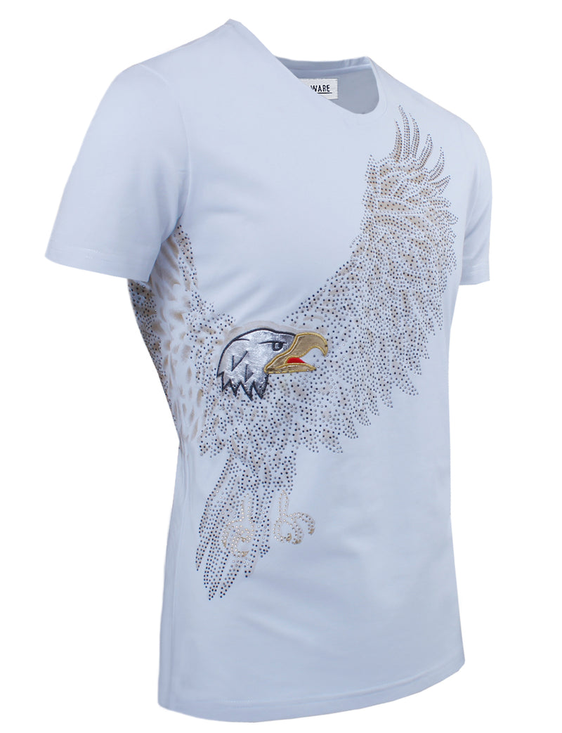 TAM WARE Men's Slim Fit Stud Eagle V-neck T-shirts
