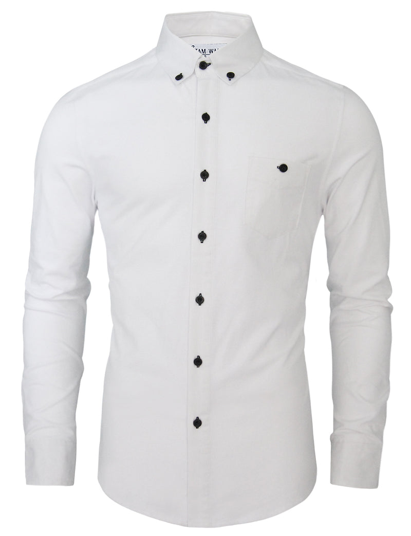 TAM WARE Men's Stylish Contrast Chest Pocket Long Sleeve Dress Shirt