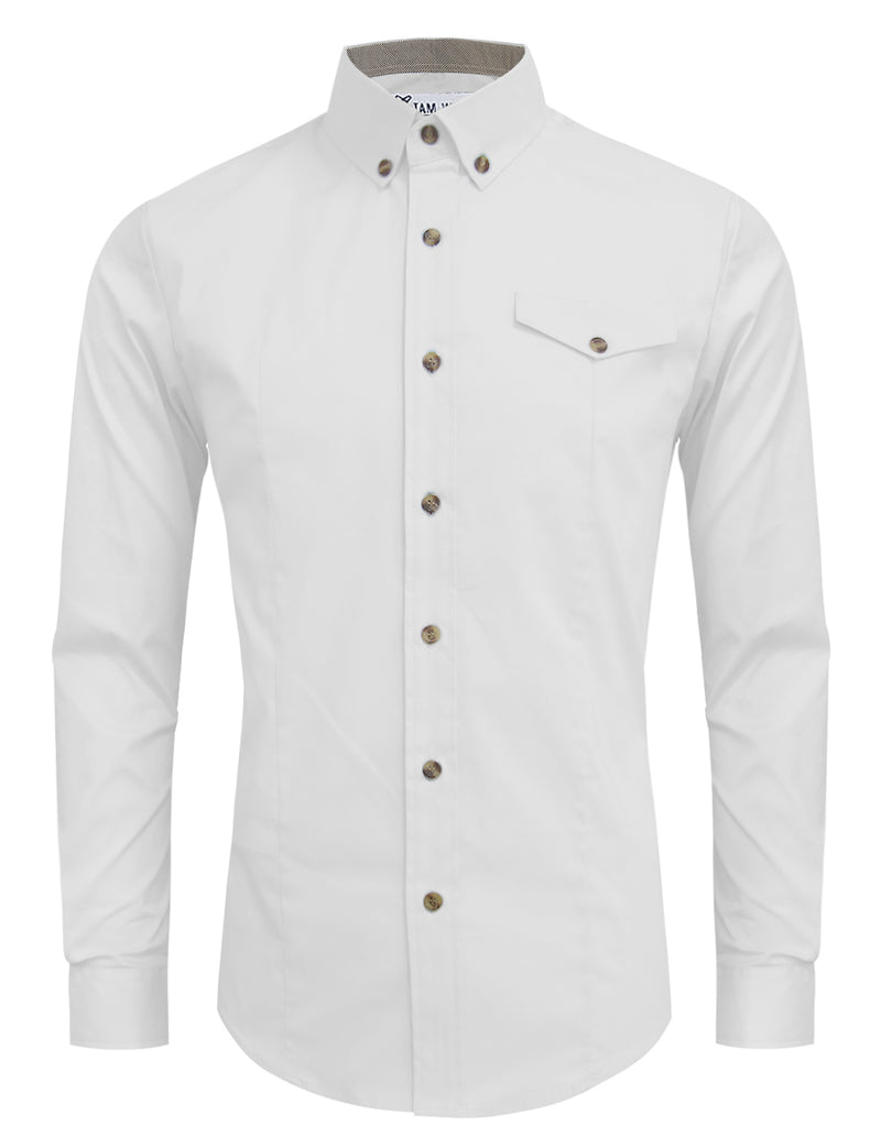 TAM WARE Men's Stylish Contrast Long Sleeve Button Down Shirt