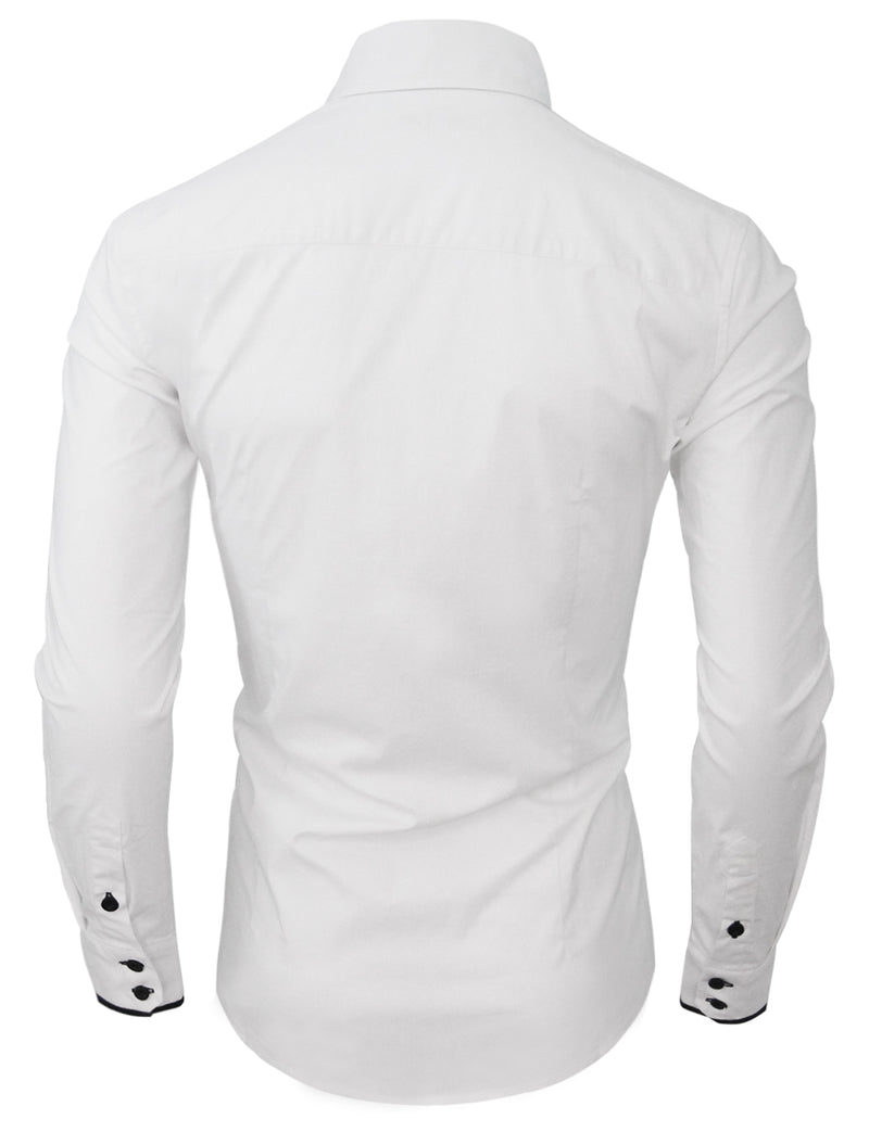 TAM WARE Men's Stylish Slim Fit Contrast Trim Long Sleeve Button Down Shirt