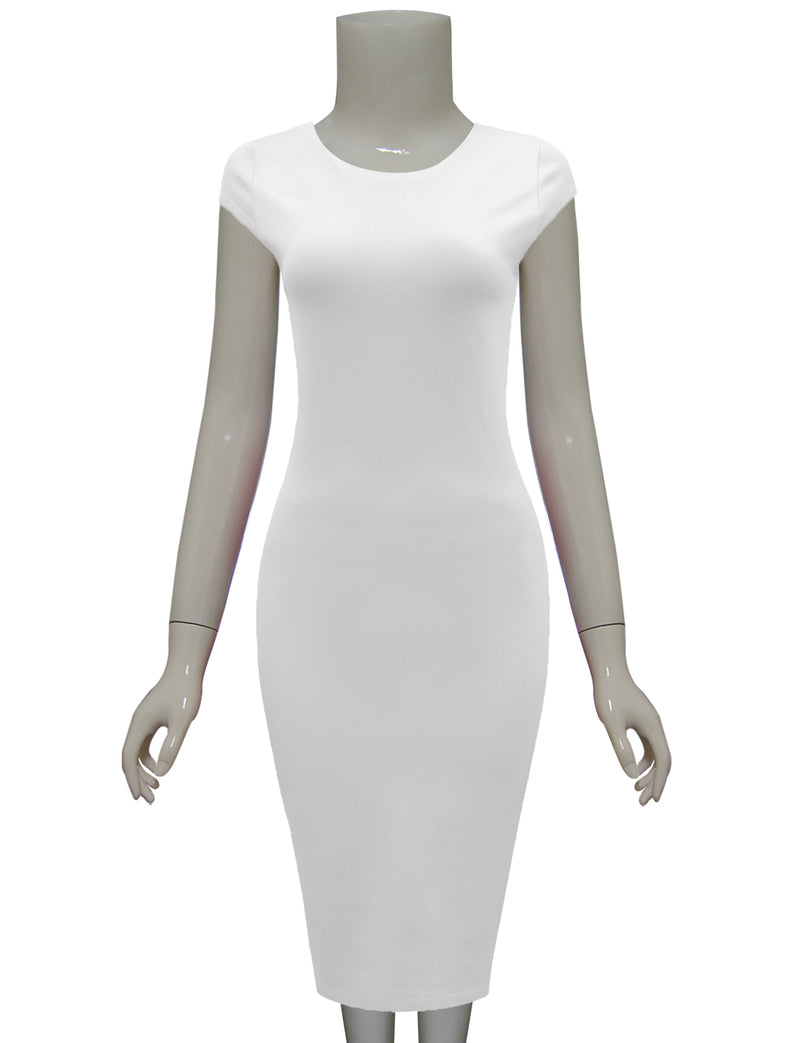 TAM WARE Women's Stylish Zip Up Cap Sleeve Bodycon Midi Dress