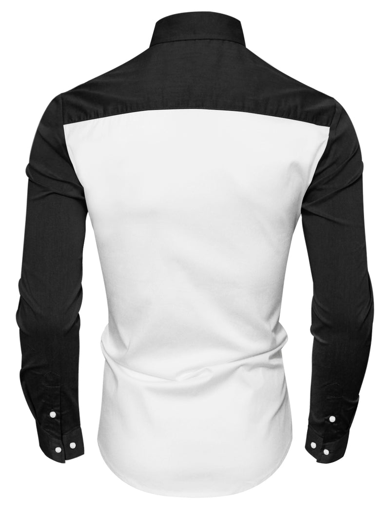 TAM WARE Men's Stylish Long Sleeve Colorblocked Button Down Shirt