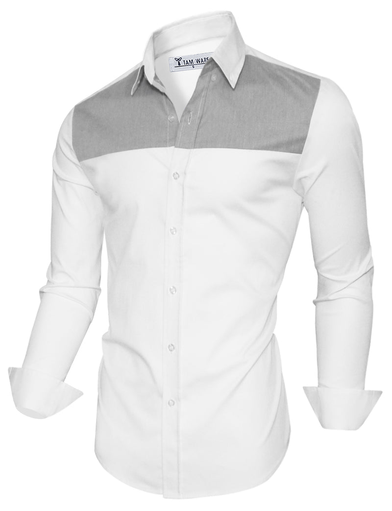 TAM WARE Men's Casual Two Toned Long Sleeve Button Down Shirt