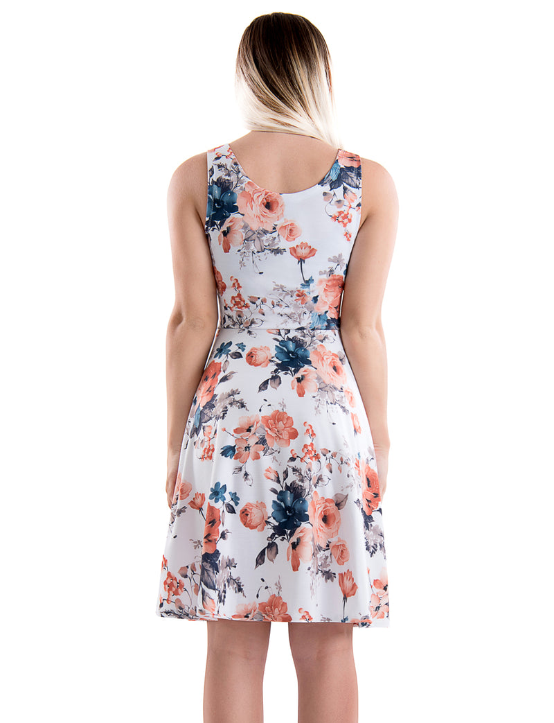 TAM WARE Women's Casual Fit and Flare Floral Sleeveless Dress