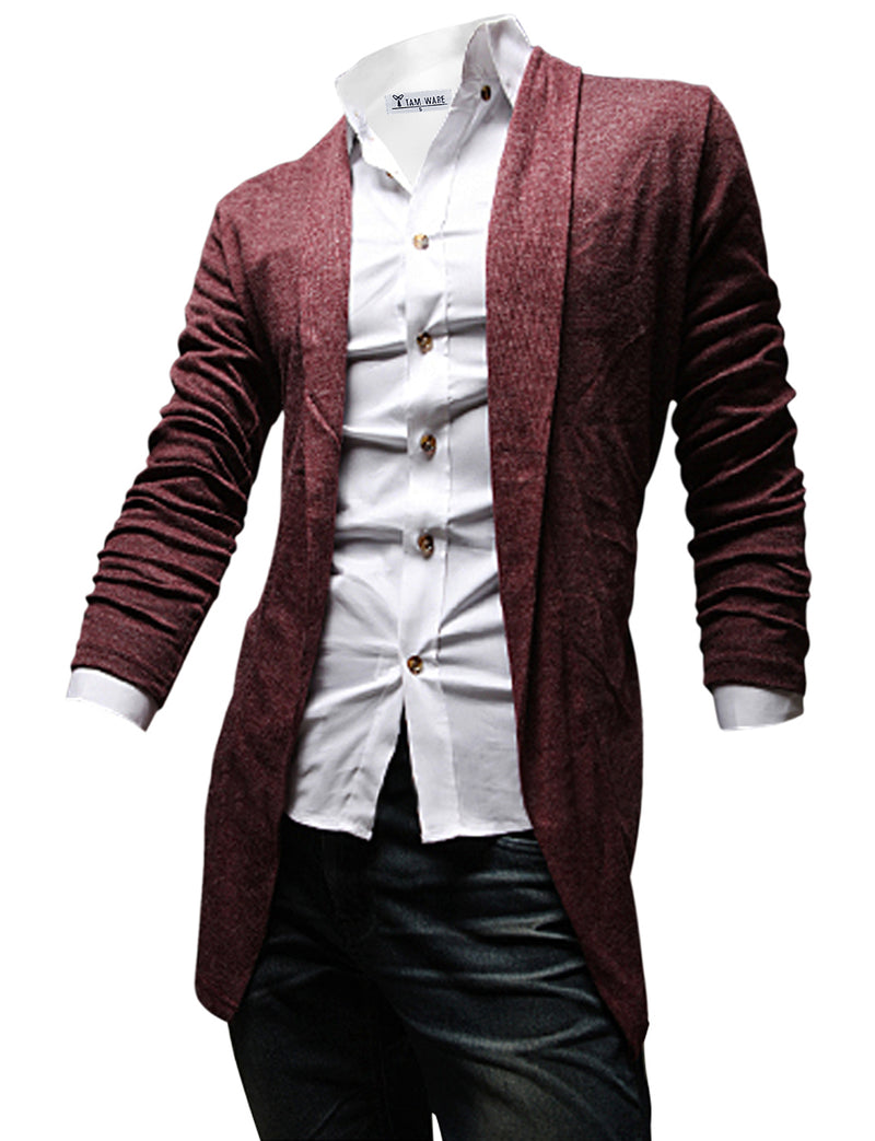 TAM WARE Men's Casual Slim Fit Plain Open Front Cardigan