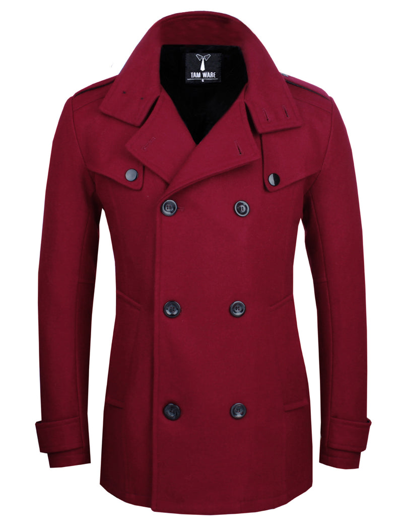 TAM WARE Men's Stylish Classic Wool Double Breasted Pea Coat-TWCC06