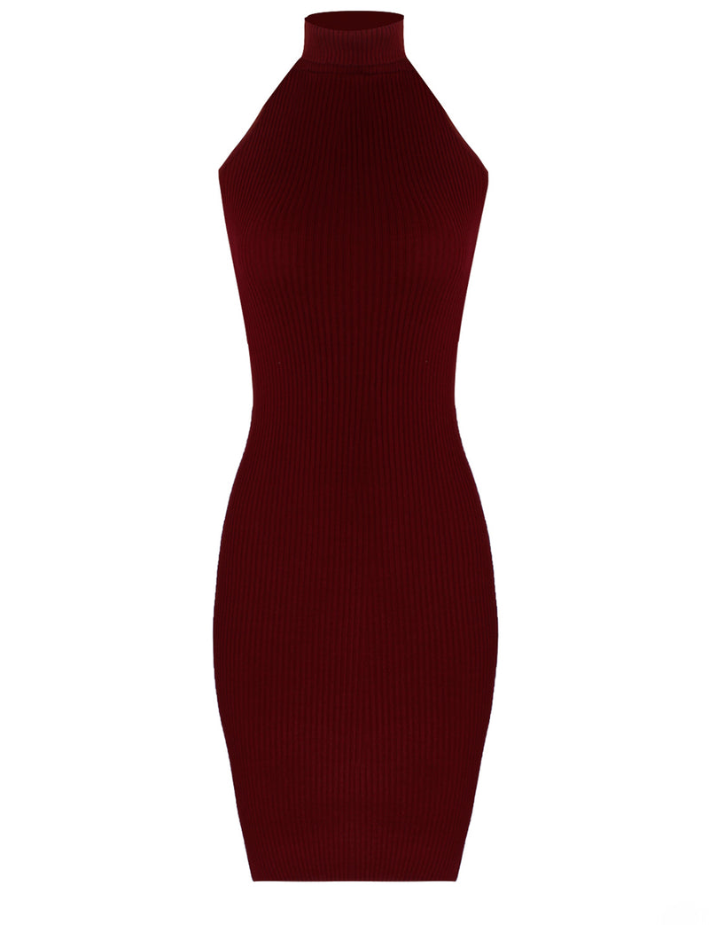 TAM WARE Women's BodyCon Sweater Halter Dress