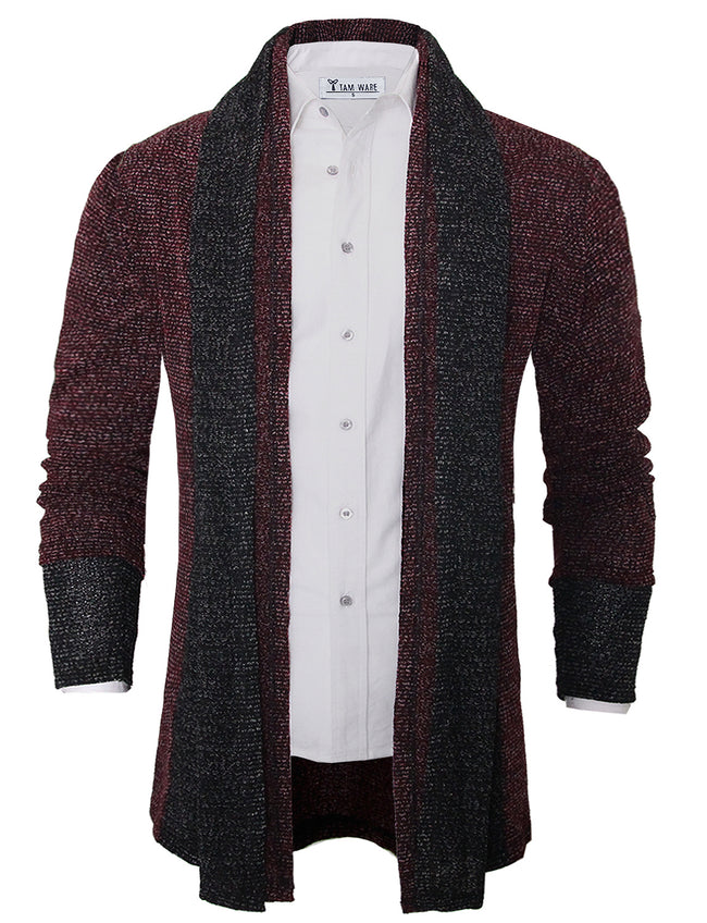 TAM WARE Men's Cozy Slim Fit Multi-colored Open Front Shawl Cardigan