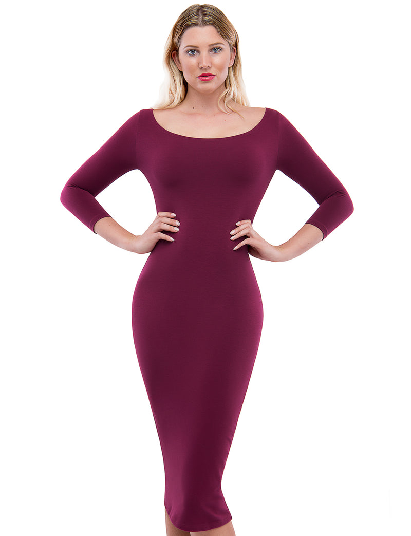 TAM WARE Women's Classic Slim Fit Bodycon Midi Dress