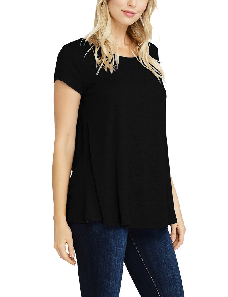 TAM WARE Women's Relax Fit Short Sleeve Tunic T-shirts Top (Made in USA)-TWAWD155