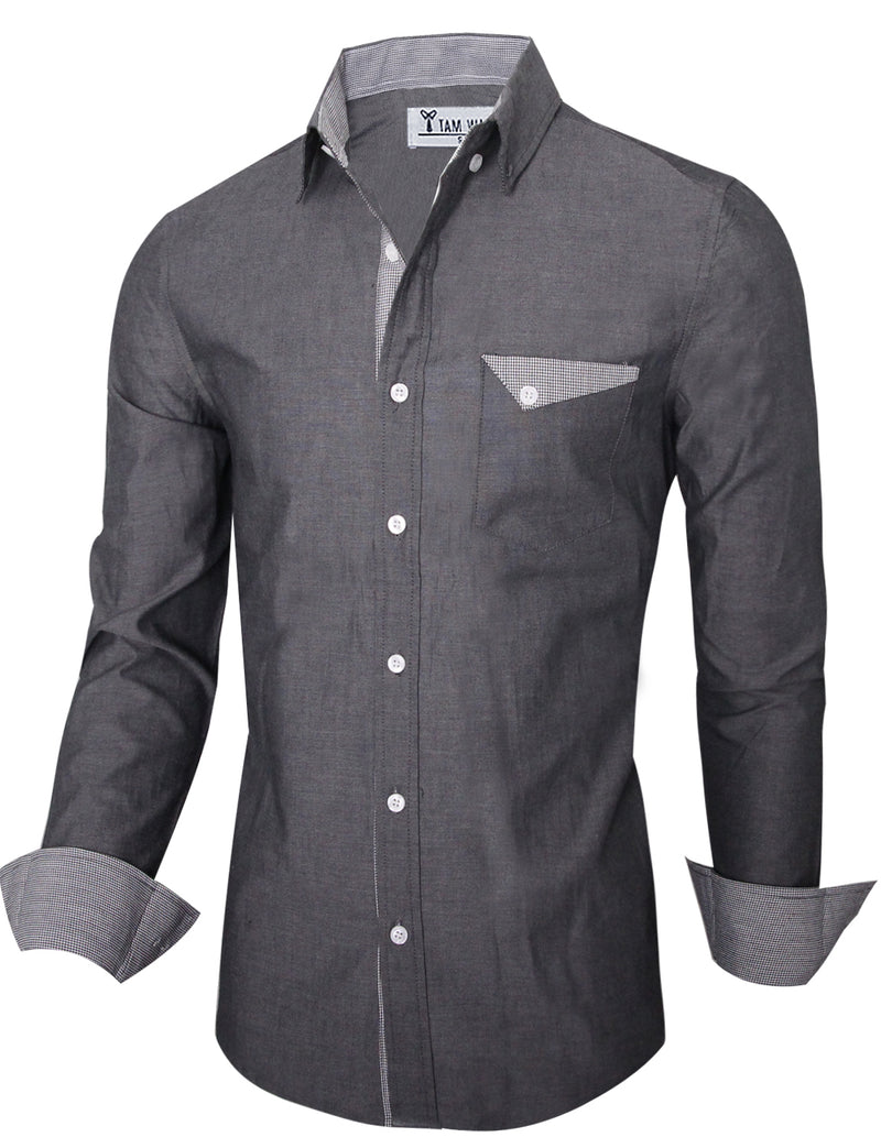 TAM WARE Men's Slim Fit Inner Plaid Button Down Shirt