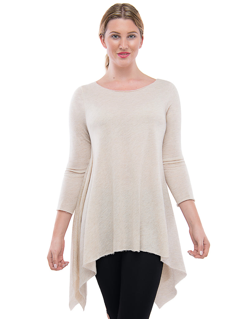 TAM WARE Women's Stylish Long Sleeve French Terry Tunic Top (Made in USA)-TWAWD2167