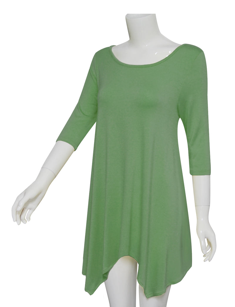 TAM WARE Women's Handkerchief Hem 3/4 Sleeve Scoop Neck Tunic Top
