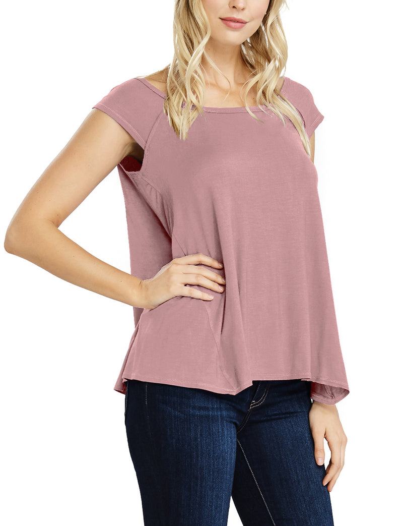 TAM Ware Women's Basic Cap Sleeve Loose T-Shirt Top (Made in USA)-TWAWD153