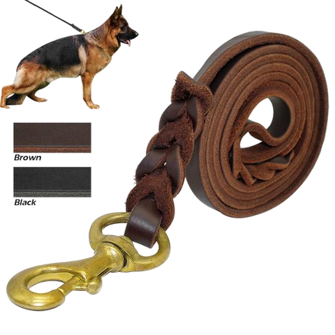 Braided Real Leather Dog Leash