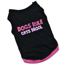 """Dogs Rule, Cats Drool"" Black and Pink Puppy Shirt"