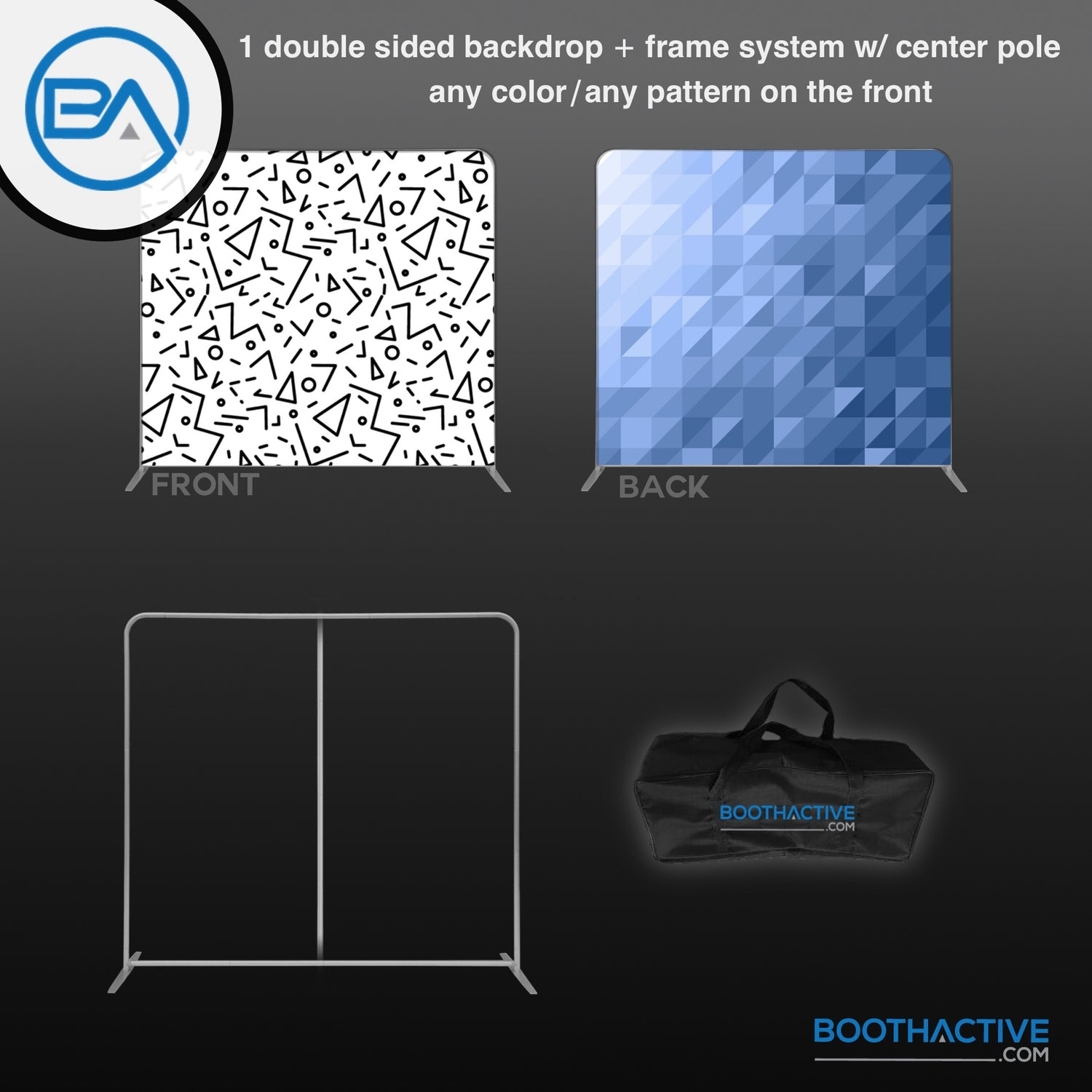 1x DOUBLE SIDED Backdrop + Frame BUNDLE - 8' x 8' - BoothActive