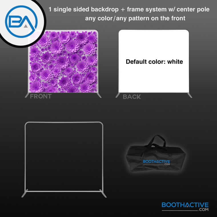 1x SINGLE SIDED Backdrop + Frame BUNDLE  - 8' x 8' - BoothActive