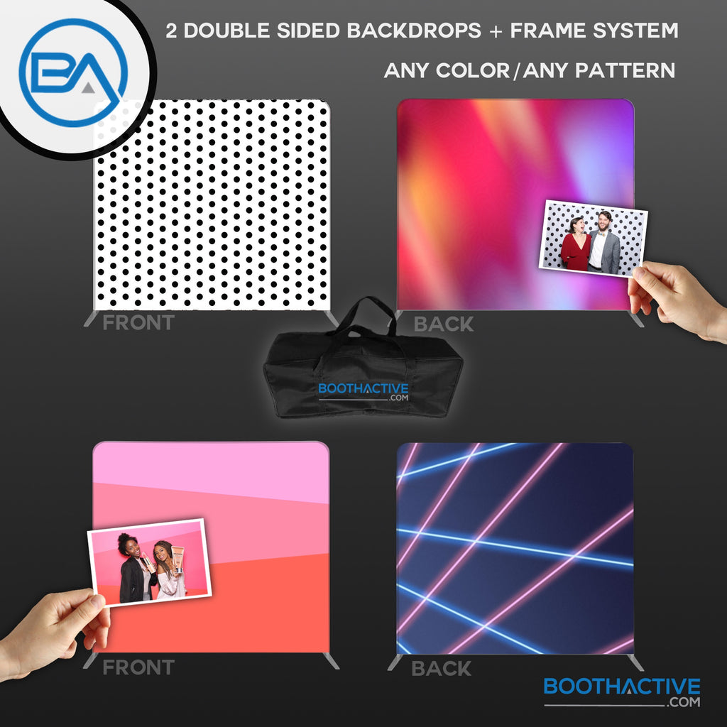 2x DOUBLE SIDED Backdrop + Frame BUNDLE - 8' x 8'