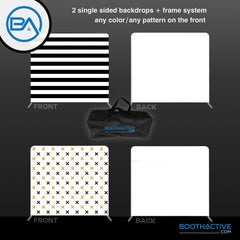 2x SINGLE SIDED Backdrop + Frame BUNDLE - 8' x 8' - BoothActive