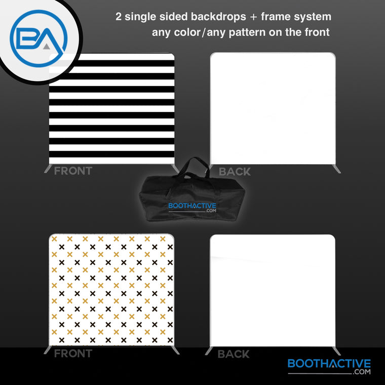 2x SINGLE SIDED Backdrop + Frame BUNDLE - 8' x 8'