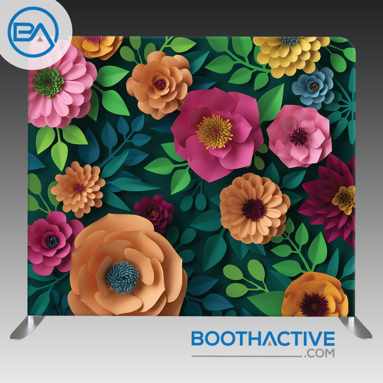 8' x 8' Backdrop - 3D Flowers - Colorful