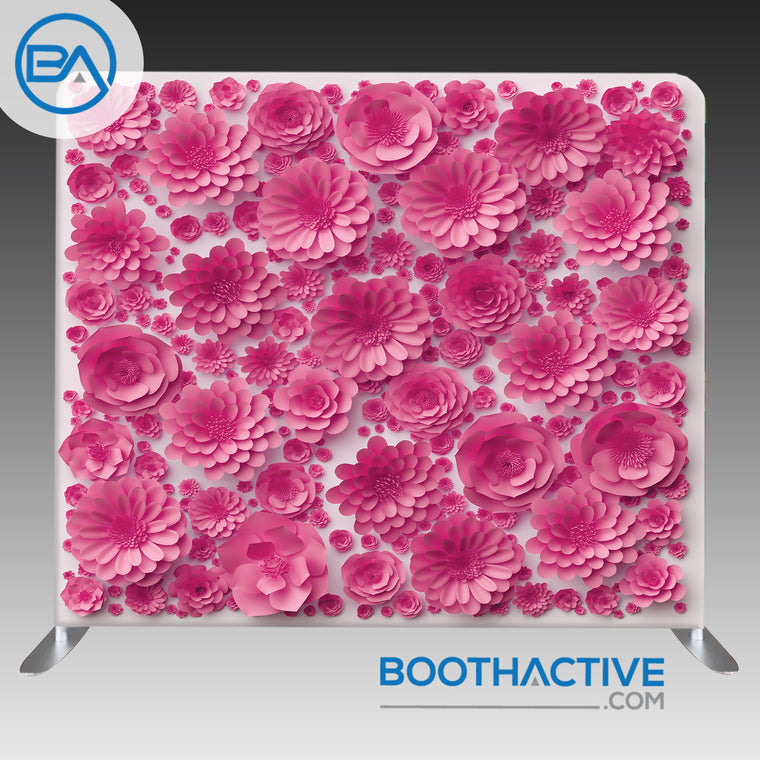 8' x 8' Backdrop - 3D Flowers - Pink