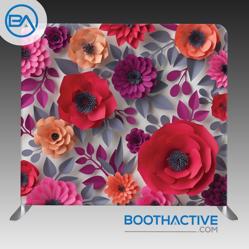 8' x 8' Backdrop - 3D Flowers - Red/Peach/Grey