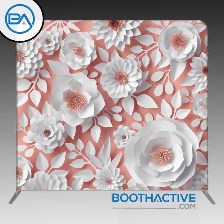 8' x 8' Backdrop - Flowers - White/Salmon