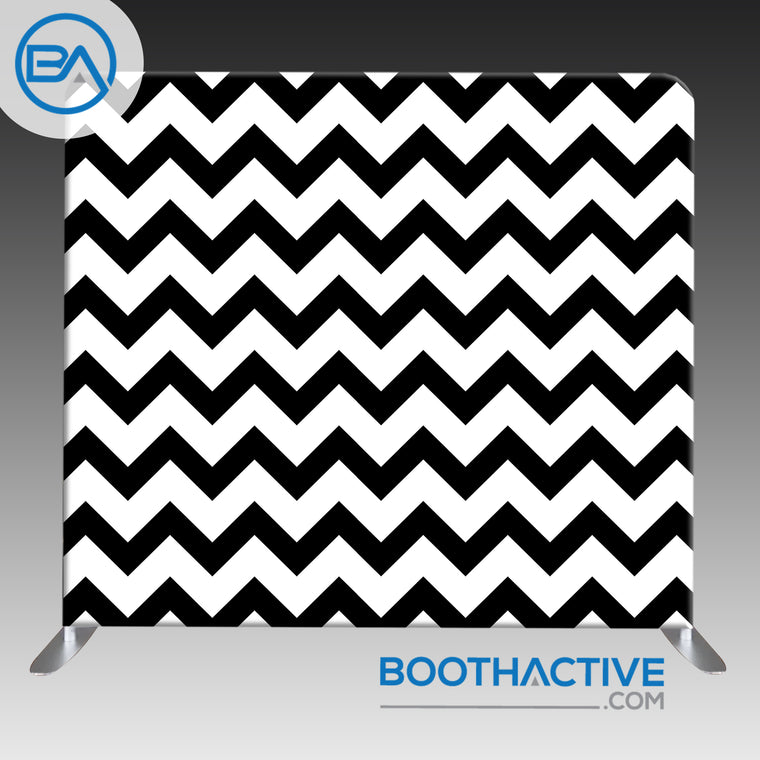 8' x 8' Backdrop - Black / White Chevron