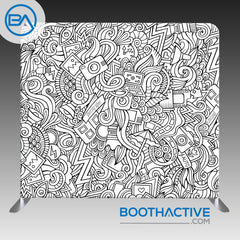 8' x 8' Backdrop - Cartoon - Black/White
