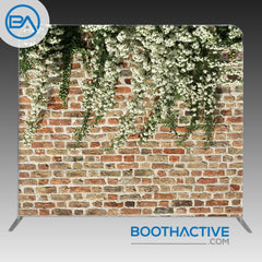 8' x 8' Backdrop - Floral Brick Wall