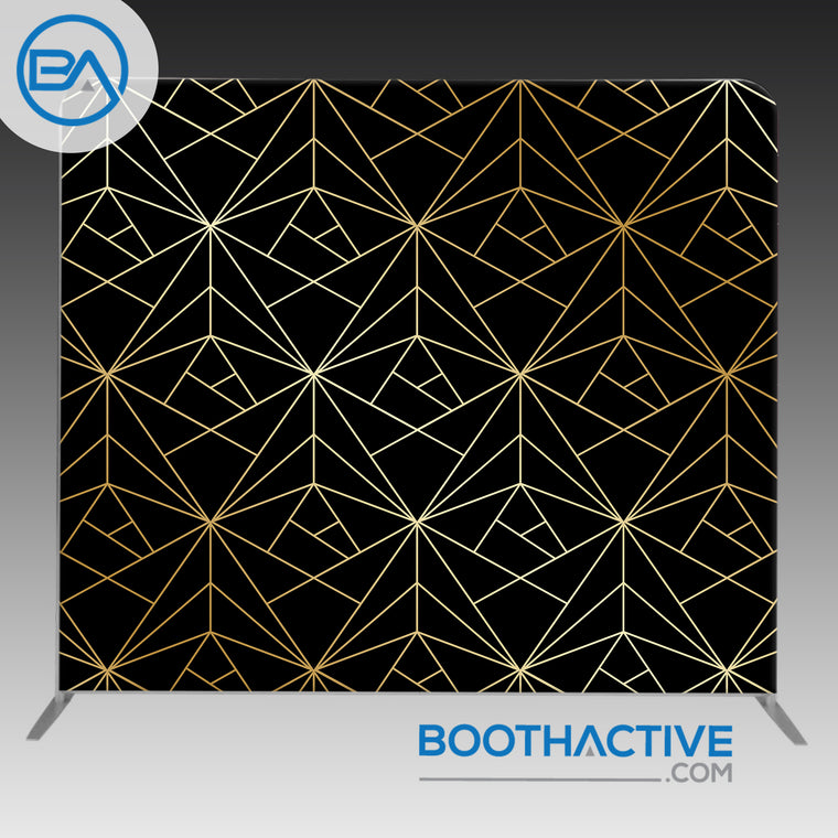 8' x 8' Backdrop - Geometric Gold - Black
