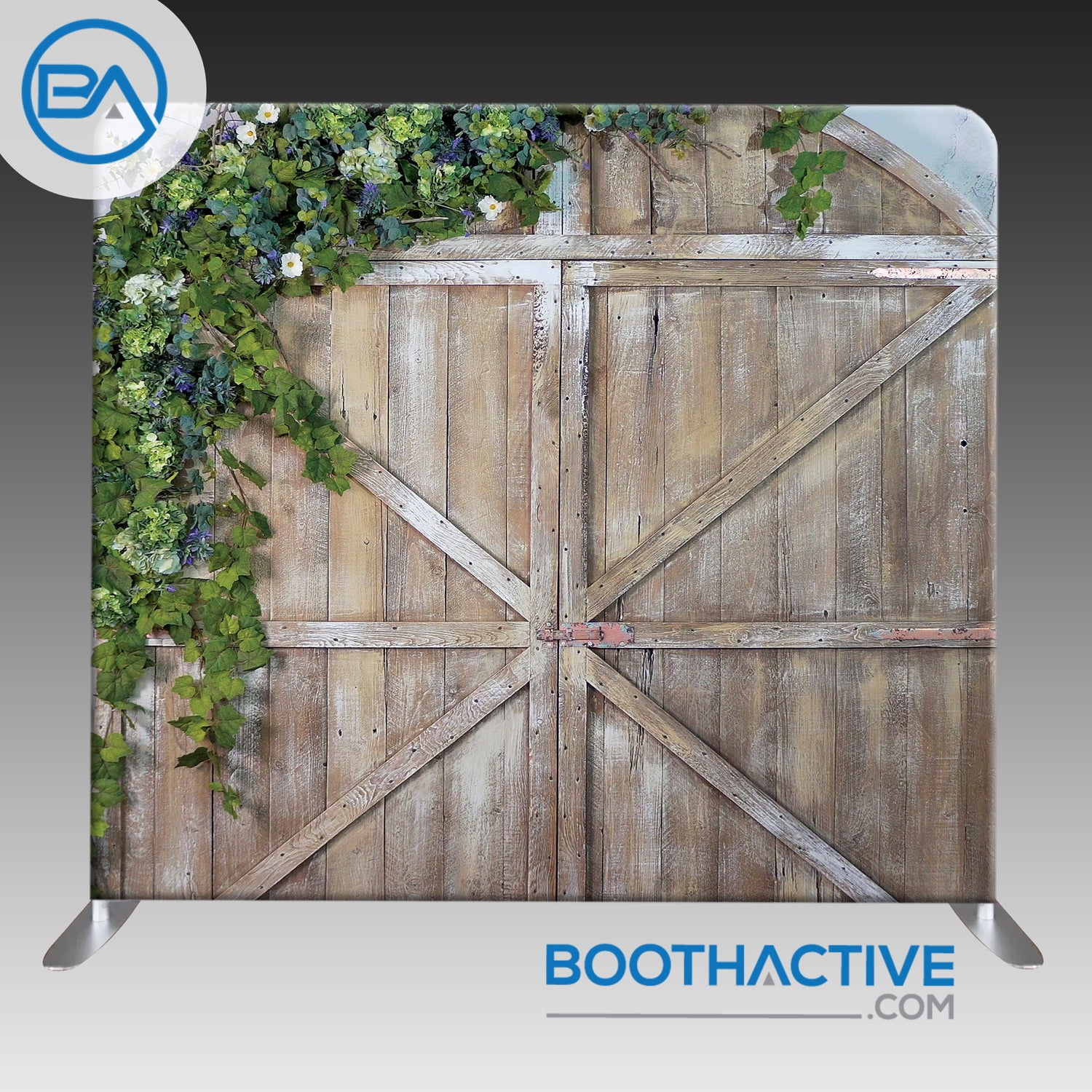 8' x 8' Backdrop - Barn Doors with Flowers