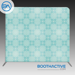 8' x 8' Backdrop - Flowers - Blue Ornaments - BoothActive
