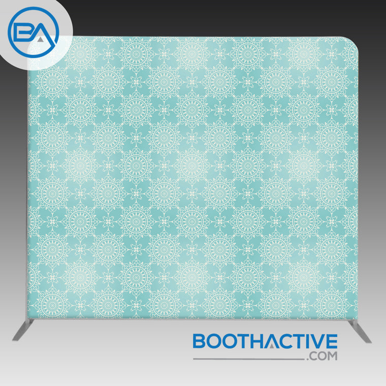 8' x 8' Backdrop - Flowers - Blue Ornaments